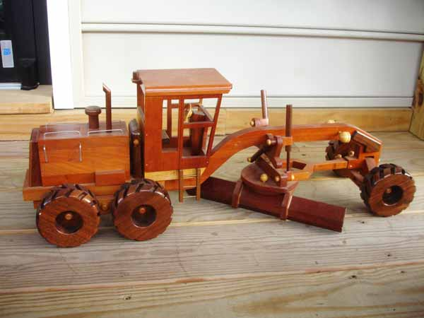 hand crafted wood construction toy grader
